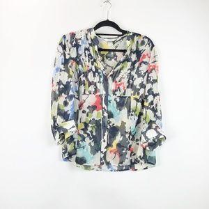 CJ Banks Watercolor Sheer Button-up Blouse